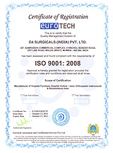 D4 Surgicals - URS - UKAS - ISO 9001-2000 Certified